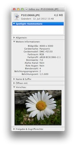 Exif-Informationen im Finder